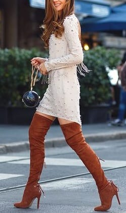 style high heel boots with a line dress
