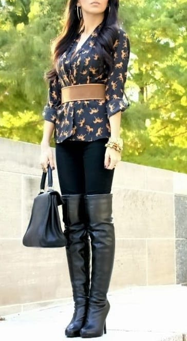 style high heel boots with casual wear