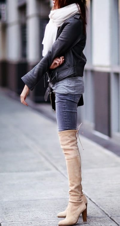style high heel boots with jackets