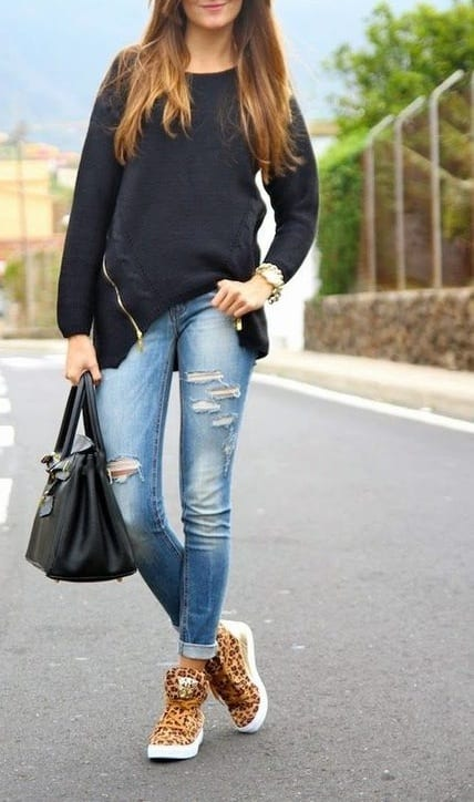 style high top sneakers with sweat shirt