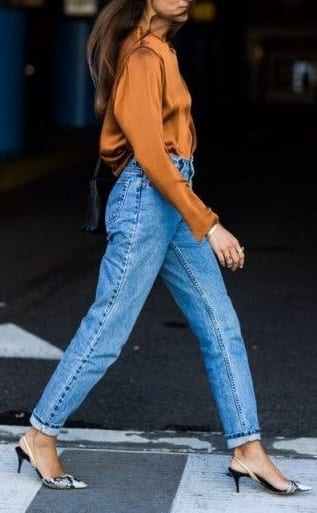 style kitten heels with casual jeans