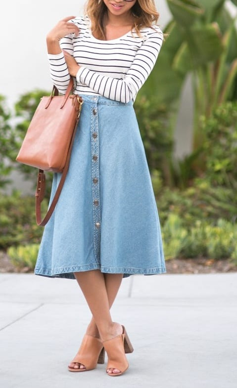 style mules with knee length skirts