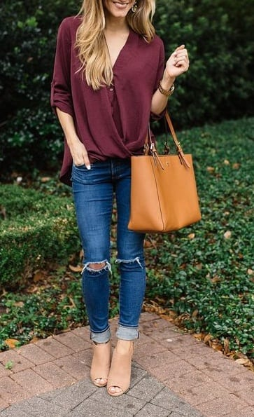 style peep toe heels with ripped jeans