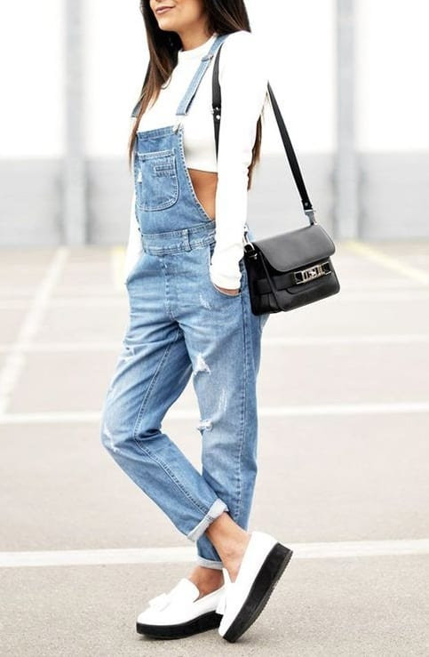 style slip on sneakers with dungarees