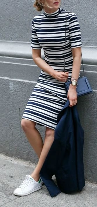 style sneakers with turtle neck dress