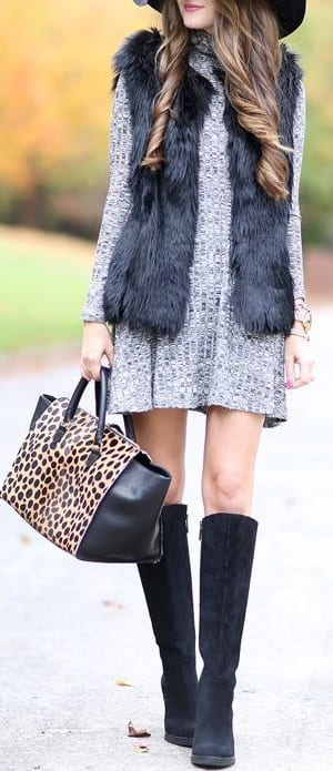 style wedge boots with jacket
