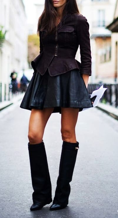 style wedge boots with mini skirts