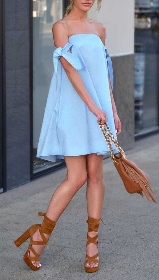 style chunky heels with off shoulder dress
