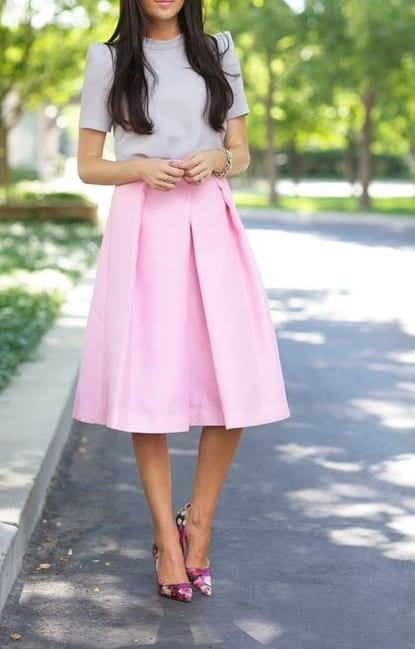 style pump heels with mini skirts