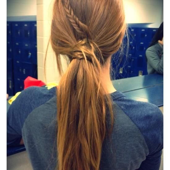 braided and loose ponytail