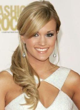 carie underwood side swept ponytail