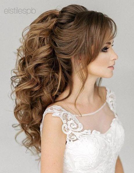 curly ponytail bridal look