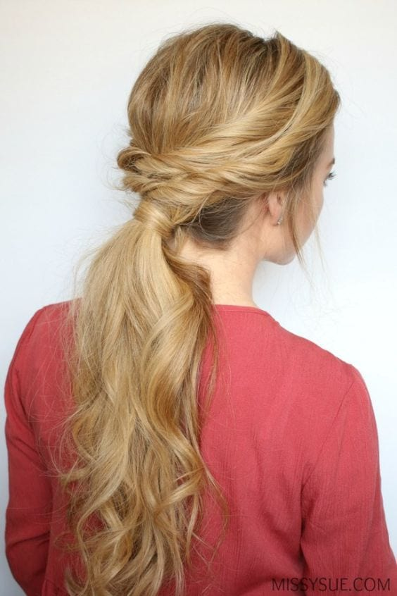 double side ponytail blonde hair