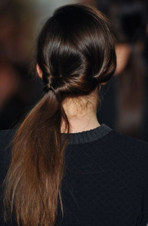 double side ponytail runway style
