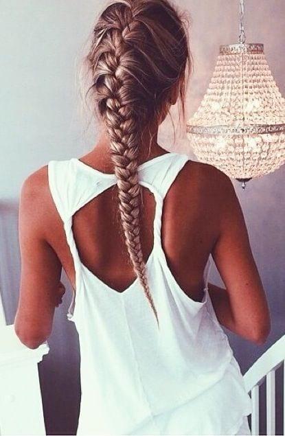 french braid long hair