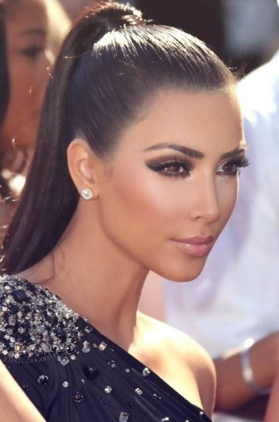 kim kardasian high ponytail