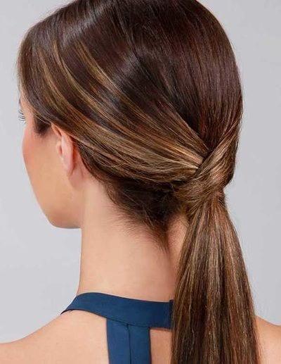 low cris cross ponytail