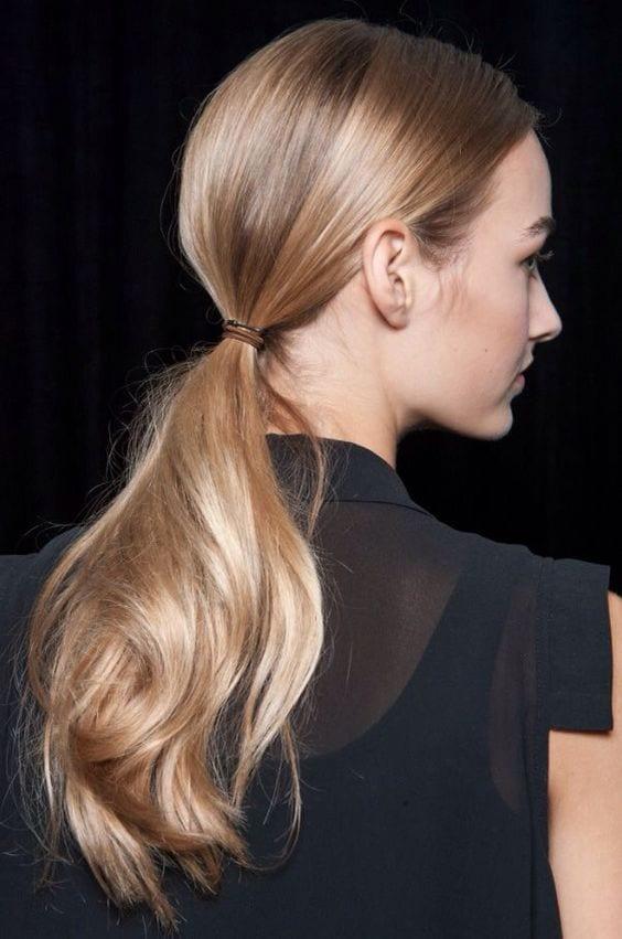 low ponytail blonde hair