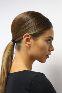 poufed low ponytail