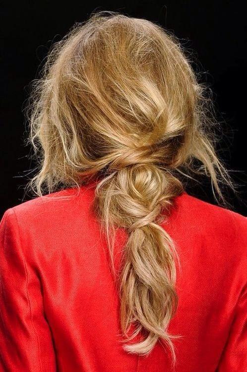 runway look messy ponytail