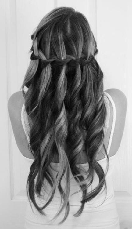 waterfall braid black long hair