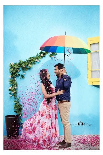 Floral gown for Pre wedding photo shoot