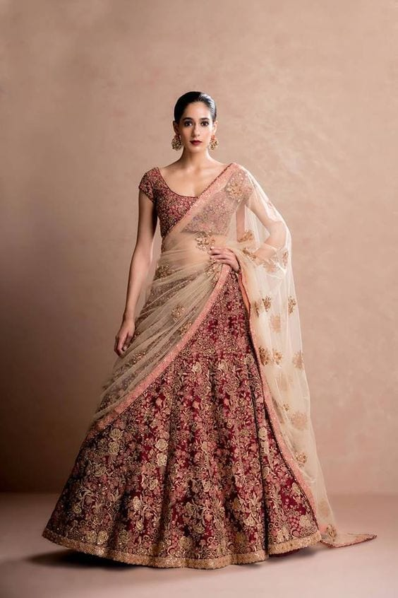 Marron Lehenga for Wedding Ceremony