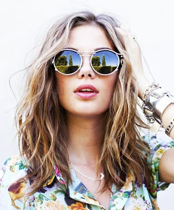 beach waves with sunglasses