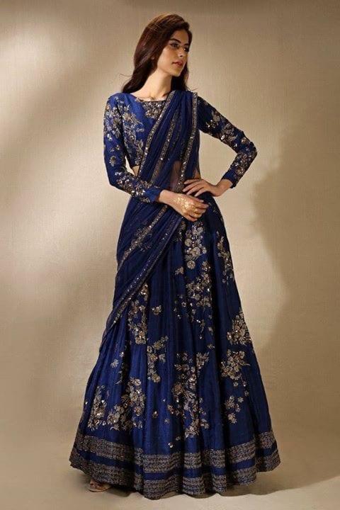 blue and silver saree lehenga style