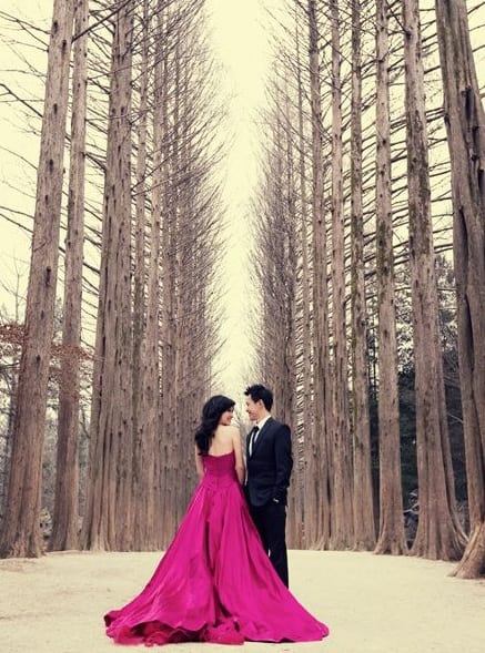 evening gown for pre wedding photo shoot