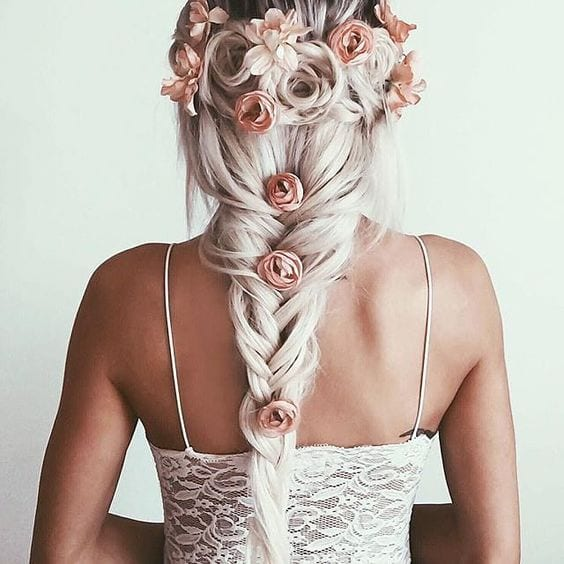 fishtail braid with flower