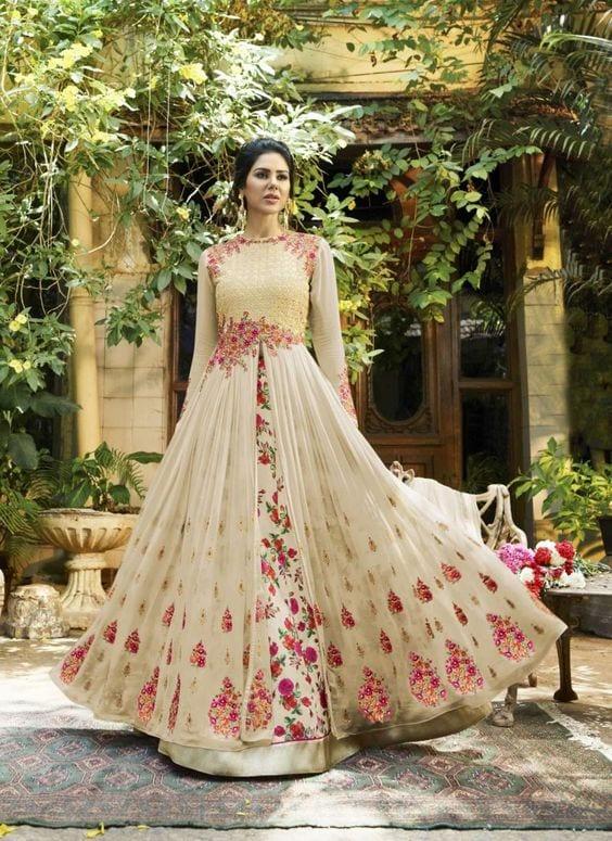 floral party wear anarkali dress designs