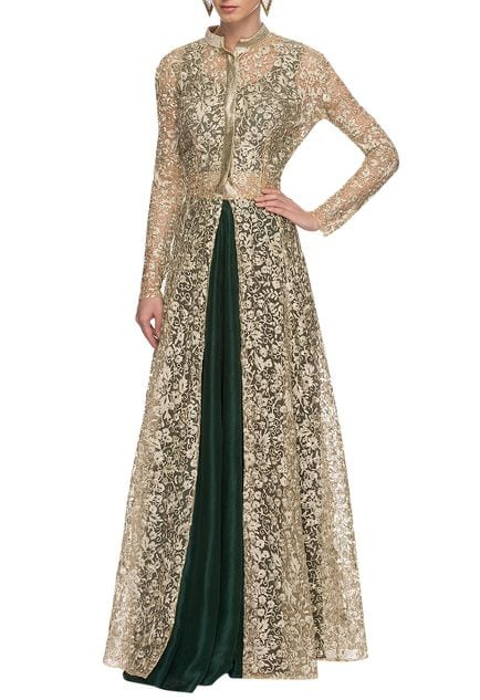 gold embroidered jacket with emerald lehenga