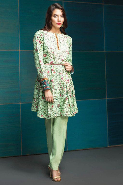 green short kurti with cigarette pants