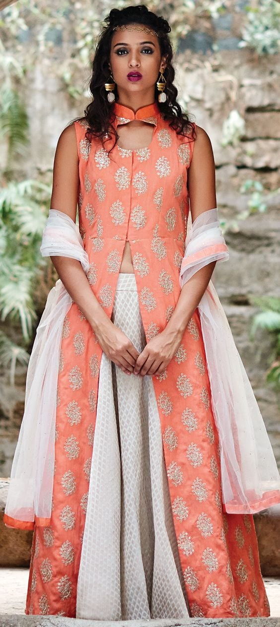 lehenha with long kurti orange