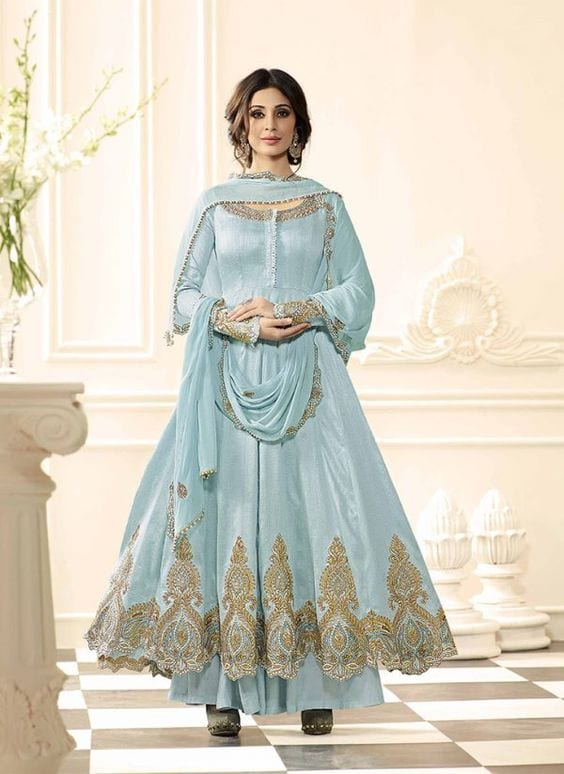 light blue anarkali suit with palazzo pants