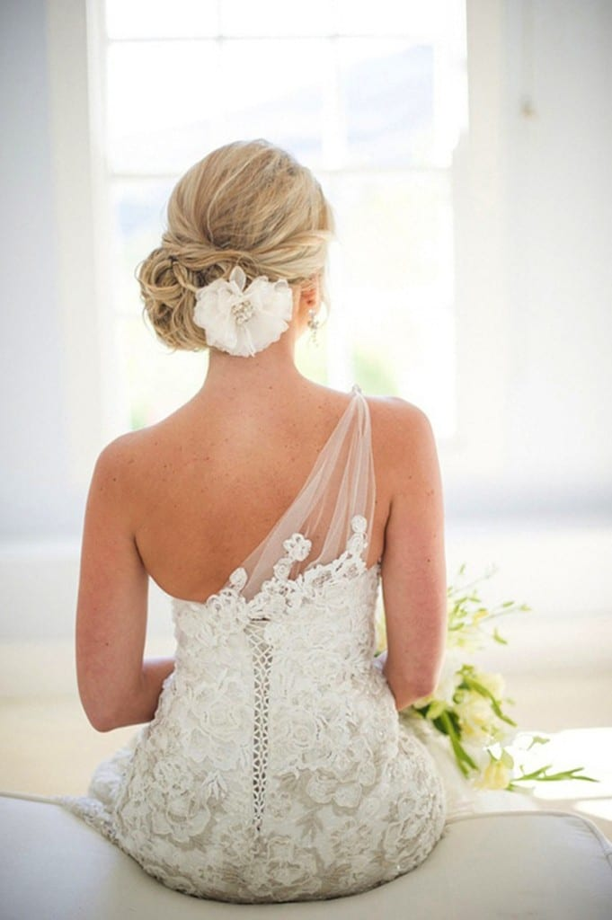 low chignon with flower