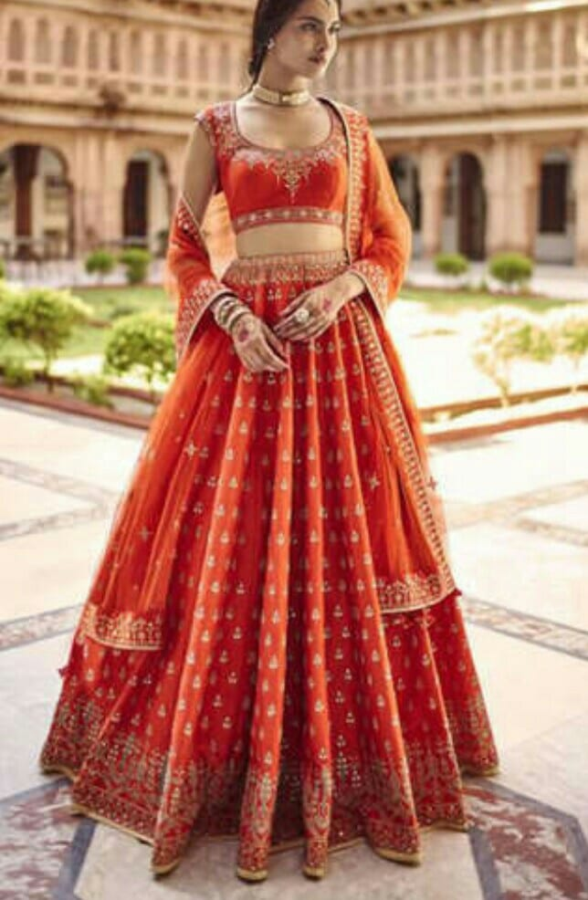 orange lehenga for wedding ceremony