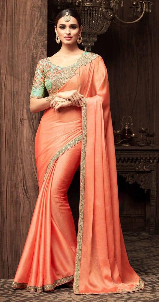 peach saree for any event