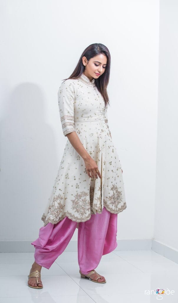 pink dhoti pants with anarkali