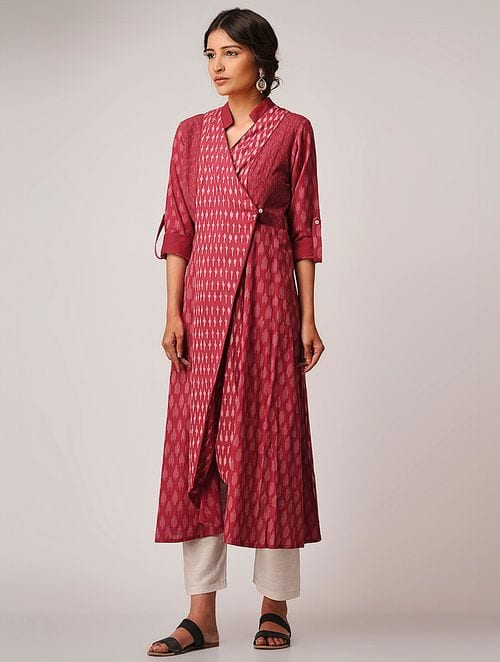 red and white Angarkha Kurti