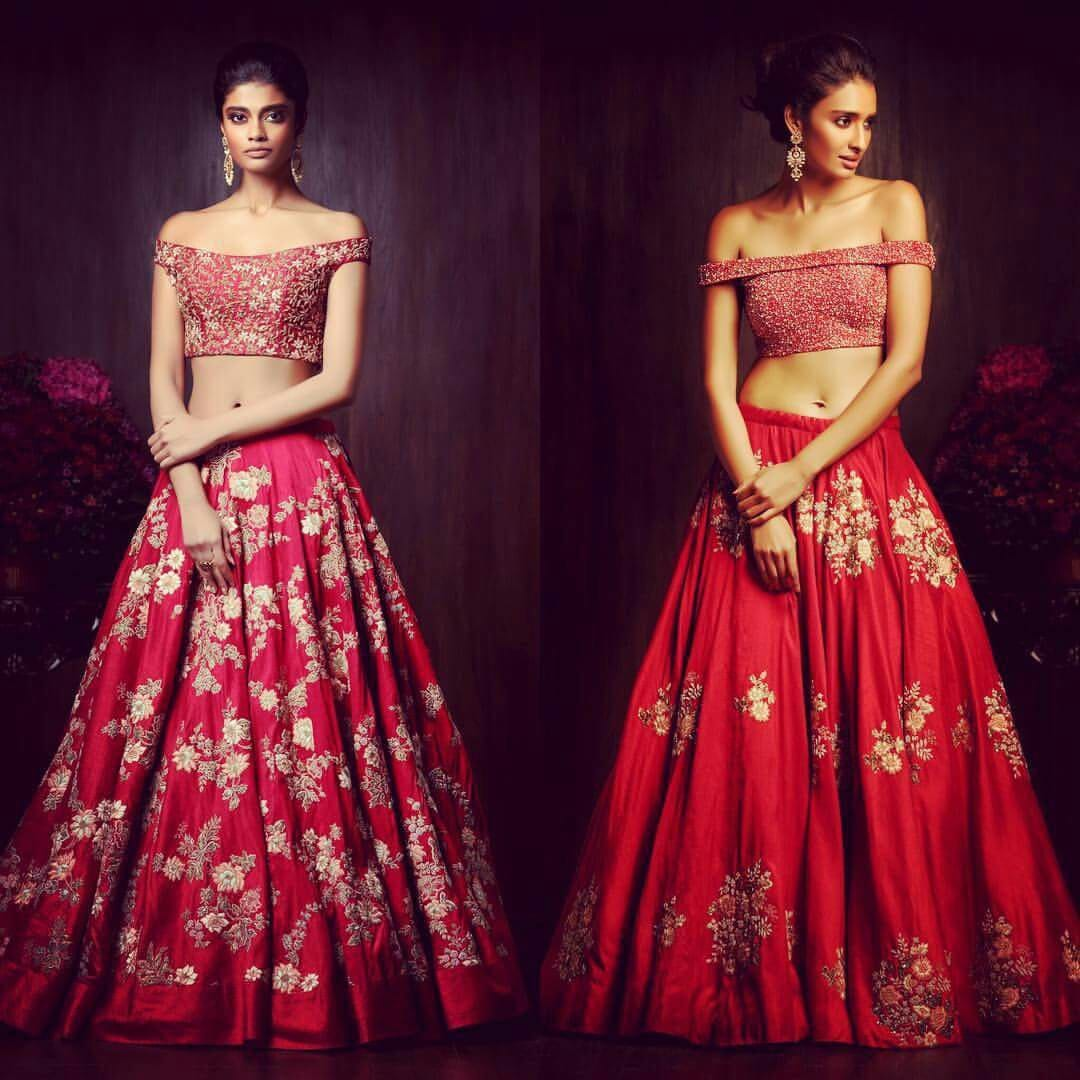 red bridal style lehenga with crop top