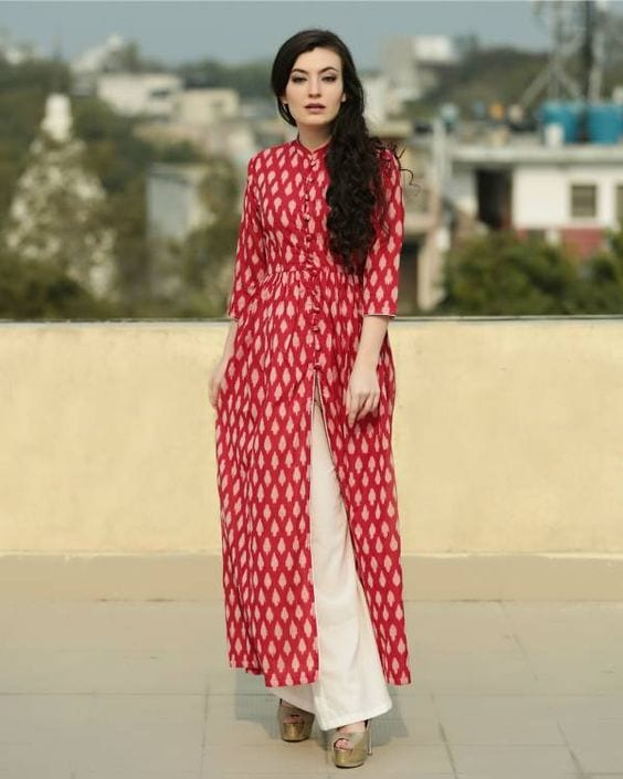 red kurta with palazzo pants