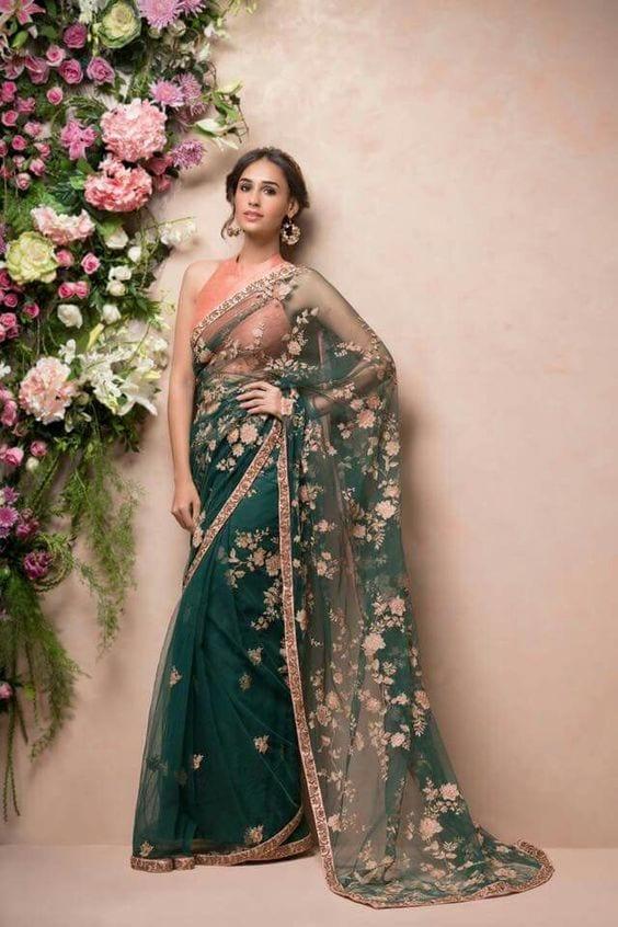 shyamal and bhumika green floral saree 2018