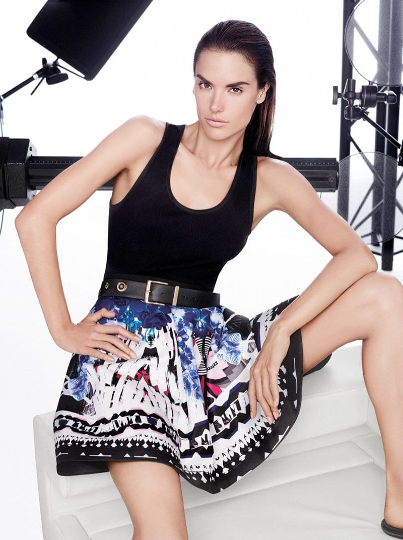 slicked back hair with printed skirt