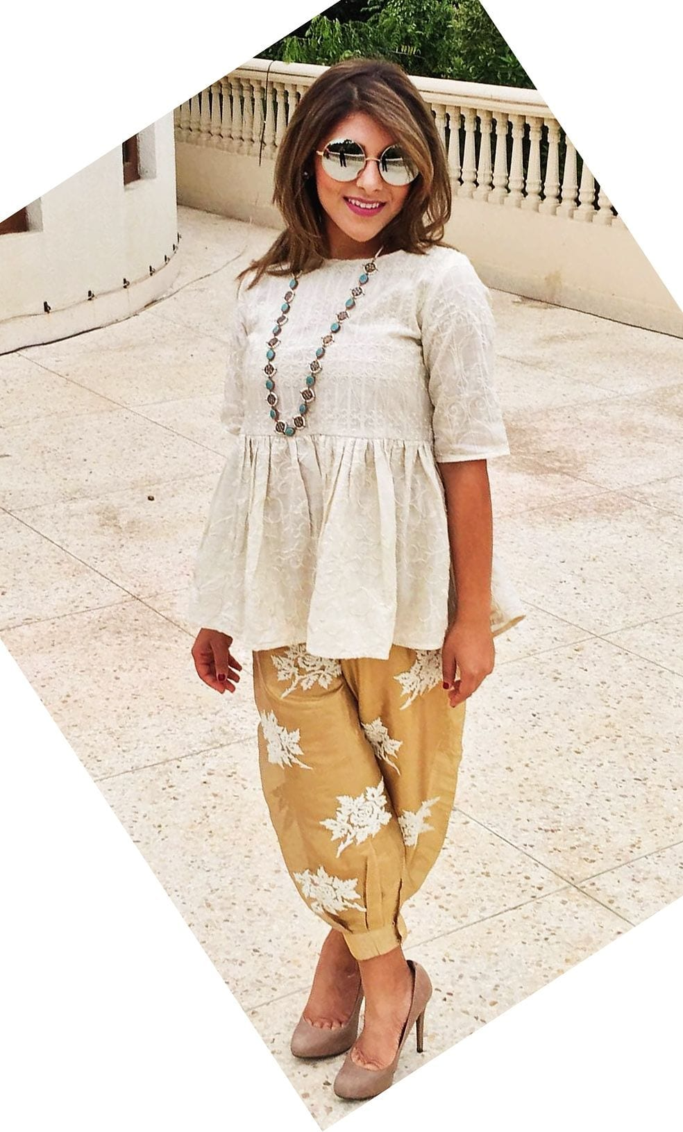 white and yellow dhoti pants with heels