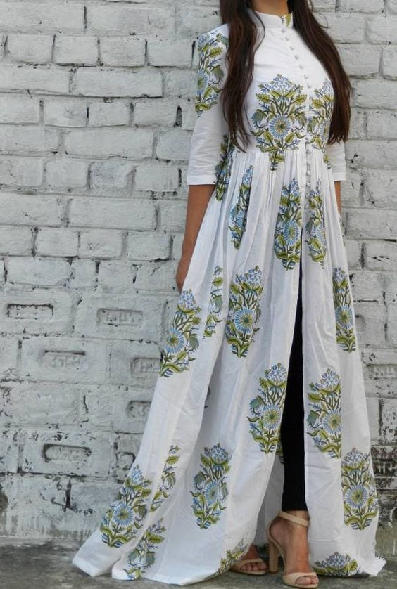 white kurti with front slit