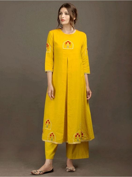 yellow kurti with embroidery