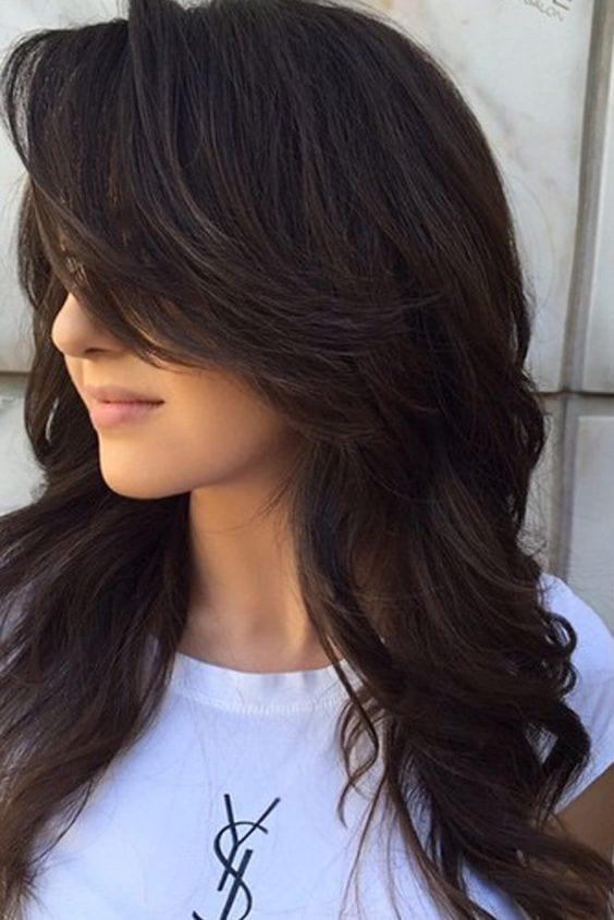 black layered hair