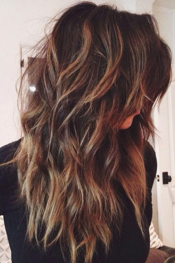 layered long thick hair